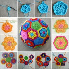 How to Make Crochet African Flower Soccer Ball tutorial and instruction. Would be cute for my niece & nephew to play with!!