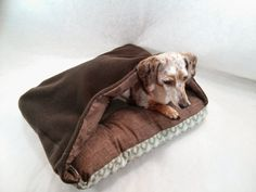 Cozy Cave Flannel Canvas Pet Bed with Blanket Attached by GoodLifePetSupply #HEPTEAM #etsy