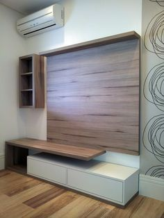 Ideas for living room tv wall apartment hallways Tv Cabinet Design, Tv Wall Design, Tv Unit Design, Deco Tv, Laminate Flooring On Walls, Tv Wanddekor, Lcd Units, Modern Tv Wall Units, Living Room Tv Unit