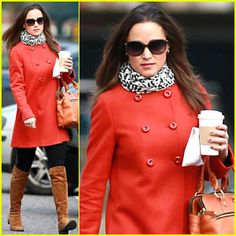 Pippa Middleton - Love that red peacoat.