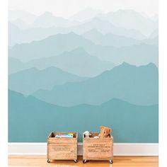 Usa Wallpaper, Brick Wallpaper Roll, Wallpaper Panels, Mountain Mural, Mountain Paintings, Nursery Modern, Modern Nurseries, Forest Mural, Geometric Mountain