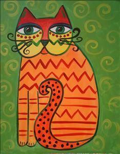 Big Eyed Cat - Murray, UT Painting Class - Painting with a Twist Laurel Burch, Art Fantaisiste, Artist Art, Art For Kids, Painting For Kids, Cats With Big Eyes, Cat Quilt, Cat Cards, Cat Colors