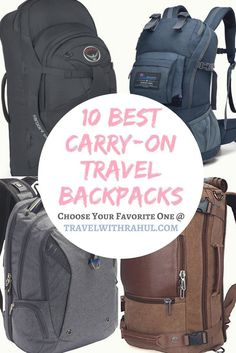 Looking for an awesome backpack for your travels? Have a look at this list of 10 best carry-on travel backpacks. #backpackfortravel #travel #backpacks #backpack #backpacking #travelbags #bags #carryonbag #osprey #carryonluggage #mountaintop #swissgear