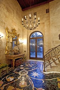 Amazing mosaic tile floor.
