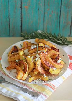 Oven-Roasted Delicata Squash with Rosemary & Feta | Kitchen Treaty