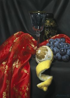 Tetsuya Mishima - Still life of red cloth and lemon, Oil on Canvas, 13.1 x 17.9 inches