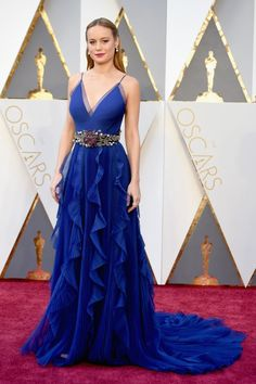 Brie Larson's royal blue Gucci gown with an embellished belt is a striking choice, just as we've come to expect from this nouveau-red-carpet risk taker.