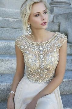 Beautiful Traditional Embellished Cream And Silver Topped Prom Dress