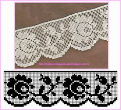 bordes a crochet con rosas ile ilgili görsel sonucu Crochet Boarders, Crochet Lace Edging, Crochet Flower Patterns, Thread Crochet, Irish Crochet, Crochet Designs, Crochet Flowers, Knit Crochet, Crochet Curtains
