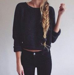 the black knit with black jeans and a long fishtail braid together is sooo aesthetically pleasing