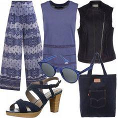 Pantalone a fantasia con fascia elastica in vita; abbinati ad un top blu lunghezza media e ad uno smanicato jeans con zip laterale. Sandalo con zeppa ed una borsa casual della Levis. Outfit per tutti i giorni!