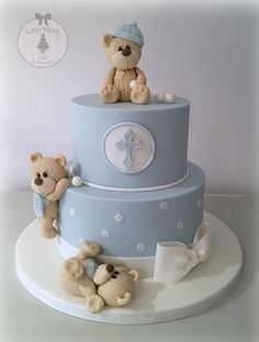 Kirsty Wirsty The Cake Emporium Baby Cakes, Baby Shower Cakes, Cupcake Cakes, Christening Cake Boy, Christening Cakes, Teddy Bear Cakes, Fondant Teddy Bear, Teddy Bears, First Birthday Cakes