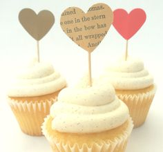 bridal shower cupcake toppers set - book page vintage wedding decor. $5.00, via Etsy.