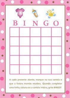 brincadeiras para cha de bebe bingo