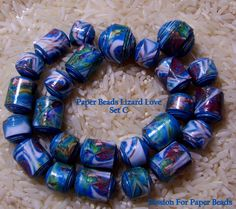 Paper Beads Lizard Love  Set C   by PassionForPaperBeads on Etsy