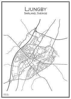 Ljungby. Småland. Sweden. Map. City print. Print. Affisch. Tavla. Tryck.