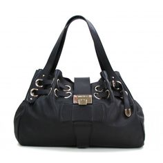 Jimmy Choo Black Leather Large Ramona Tote Bag