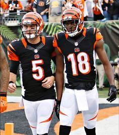 AJ McCarron and AJ Green celebrate after, McCarron's first NFL touchdown pass, a 66 yard pass to Green, vs the Pittsburgh Steelers, at Paul Brown Stadium, on 12/13/15.