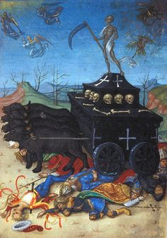 """paysagemauvais: """" British Library, Harley f 20 (Full-page miniature of the Triumph of Death, probably added). Medieval Manuscript, Medieval Art, Illuminated Manuscript, Memento Mori, Wallpaper Vikings, Medieval Paintings, Dance Of Death, Landsknecht, Danse Macabre"""