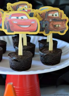 Cute, easy idea for cupcakes...i did this last year wth barnyard animals A Disney Cars Celebration