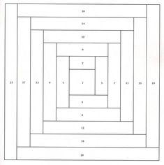 paper piecing log cabin patterns | ... - Projetos: Blocos de Log Cabin em foundation (ou paper piecing