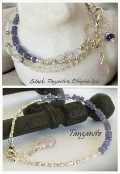 This new line of petite gemstone bracelets is currently available in Tanzanite (shown above), Lapis, lavender Scapolite, Mystic Citrine and Ethiopian Opal. Each is beautiful worn alone as a stunning delicate piece, or stacked with other bracelets for a look you love. #yoga jewelry
