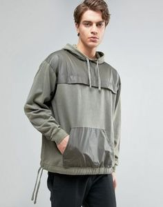 ASOS Oversized Hoodie With Contrast Panels In Khaki