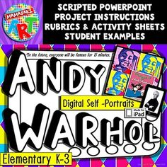 Teach Pop Art to your elementary students with this Andy Warhol lesson. This presentation includes a colorful PowerPoint with images byAndy Warhol. The scripted Andy Warhol PowerPoint is designed to be easily understood by your younger