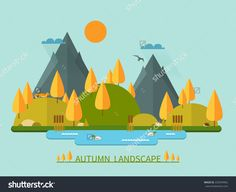 stock-vector-flat-autumn-nature-landscape-illustration-colorful-vector-flat-icon-set-nature-mountains-lake-220949962.jpg (1500×1225)