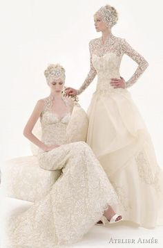 Classic Wedding Dress on right, add something underneath to make the skirt fuller