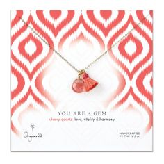 you are a gem cherry quartz briolette with tassel necklace, gold dipped - Dogeared