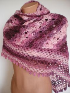 Triangle ShawlHuge Discount in shades of pink  by smilingpoet, $39.90