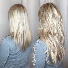 "16"" Platinum blonde hair extensions @greatlengthsusa"