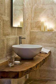 Corte San Pietro by Daniela Amoroso Vanity made of old wood plank. Old wood as washstand with modern countertop washbasin. Nice furnishing idea for the bathroom. Bathroom Interior, Modern Bathroom, Small Bathroom, Bathrooms, Modern Sink, Bathroom Bench, Warm Bathroom, Serene Bathroom, Bad Inspiration