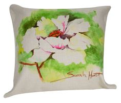 "White Peony Throw Pillow from Golden Hill Studio Artisan Collection-Insert Included 18""x18"""