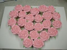 Valentine heart made from buttercream cupcakes