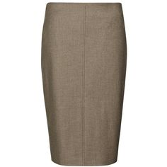 Brunello Cucinelli Fitted Pencil Skirt ($270) ❤ liked on Polyvore featuring skirts, bottoms, pencil skirt, brown skirt, brown pencil skirt, knee length pencil skirt and zipper pencil skirt