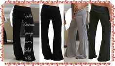 Undie Couture Lounge Pants in solid colors!! High quality, amazingly soft fabric make these the ultimate Lounge Pants. Wear them at home for everyday lounging activities, out for a leisurely stroll, to the market or just for fun. Fold over waist panel can be adjusted up or down per ur personal preference & flatters any shape. Simply cut the bottoms to the length that fits u perfectly!