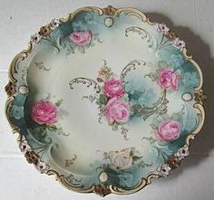 RS Prussia Plate in blue with pink Roses and white decorative edging