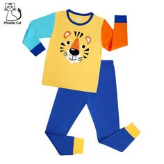 Children Pajamas Cartoon Cotton Clothing For Boys Set Size Kids Pjs, Boys Pajamas, Pyjamas, Petite Sleepwear, Plus Size Sleepwear, Little Boy And Girl, Little Boys, Boy Or Girl, Nice Tops