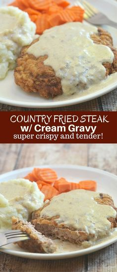 Country Fried Steak with Cream Gravy Country Fried Steak with Creamy Gravy made crispy, super tender and tasty using a buttermilk marinade. Hearty and delicious with a flavorful milk gravy, it is the ultimate comfort food. Steak Fajitas, Rinder Steak, Chicken Fried Steak, Steaks, Steak Meals, Cube Steak, Roasted Chicken, Steak Marinade Recipes, Grilled Steak Recipes