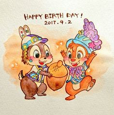Chip and Dale's birthday Disney Pins, Disney Love, Disney Magic, Disney Illustration, Children's Book Illustration, Epic Mickey, Disney Mickey, Watercolor Disney, Disney Artwork