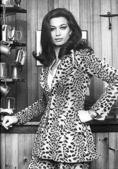 Valerie Leon in a Biba Suit 60s animal print tiger leopard cheetah designer wild jacket pants model magazine