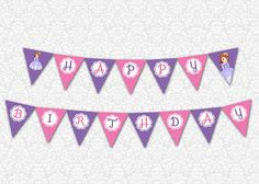 Sofia the first Birthday Banner by PrintSparkle on Etsy, $3.50