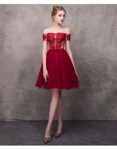 Wine Red Elegant Cocktail Dresses A-line Short Sleeves Short Mini Tulle Lace Formal Party Dress Elegant Cocktail Dress, Red Cocktail Dress, Dresses Short, Formal Dresses, Dusty Pink Bridesmaid Dresses, Robes D'occasion, Mermaid Dresses, Dream Dress, Occasion Dresses