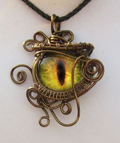 The Watcher - Wire Weave Dragon Eye Pendant by TheUnicursalPath on Etsy