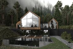 Modern Home Decor Forest house on Behance.Modern Home Decor Forest house on Behance Home Modern, Contemporary Style Homes, Kitchen Modern, Interior Modern, Room Interior, Forest House, Woodland House, Glass House, House Goals