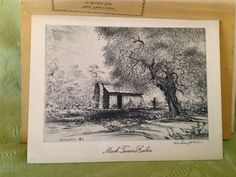 Blanding Sloan MARK TWAIN'S CABIN Famous Places Small Etching Reproduction #Vintage #MarkTwain #Cabin #FamousPlaces #Etching #Reproduction