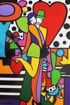 PEINTURE : VIRGINIA BENEDICTO - LOVERS Art Picasso, Cubist Art, Modern Pop Art, Modern Art Paintings, Oil Paintings, Abstract Geometric Art, Hippie Art, Arte Pop, Love Art
