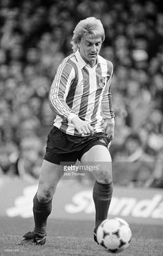 Alan Biley of Stoke City in action against Ipswich Town during their Division One football match held at Portman Road, Ipswich on 17th April 1982. Ipswich Town beat Stoke City 2-0.
